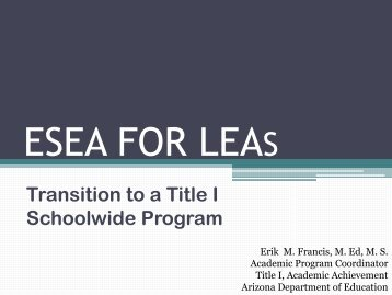 ESEA FOR LEAS - Arizona Department of Education