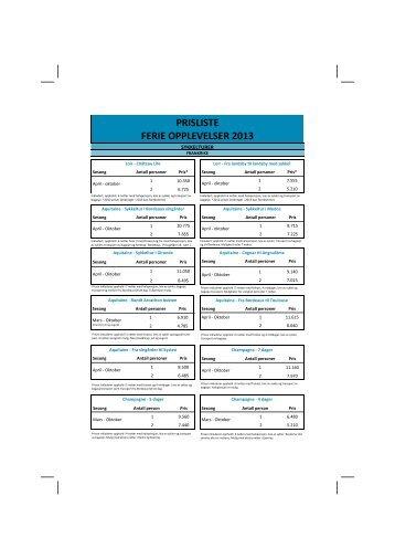 Opplevelser 2013.pdf - Vidy Reiser