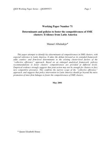 Determinants and policies to foster the competitiveness of SME ...