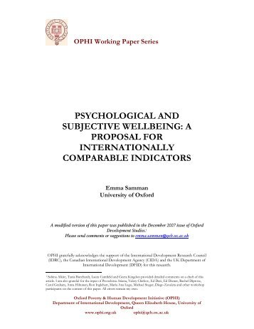 Psychological and Subjective Well-being - OPHI