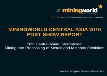 MININGWORLD CENTRAL ASIA 2010 POST SHOW REPORT