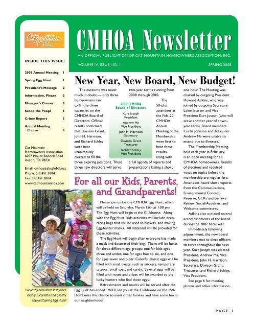CMHOA Newsletter - Cat Mountain Villas Homeowners Association
