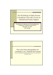 The Well Being of Older Persons in Southeast Asia with a Focus on ...