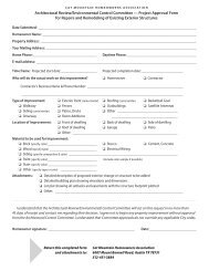 Project approval Form - Cat Mountain Villas Homeowners Association