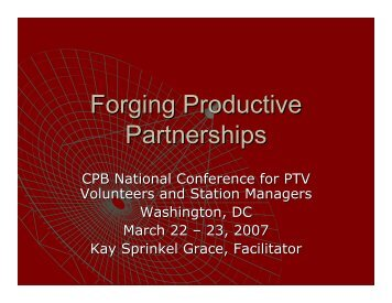 Forging Productive Partnerships - Major Giving Initiative