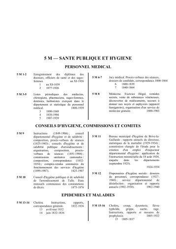 5 m – sante publique et hygiene - Archives départementales Corrèze