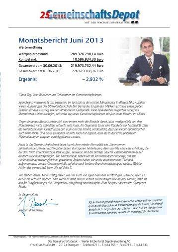 Monatsbericht Juni 2013 - Weiler Eberhardt Depotverwaltung AG