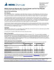 NOVA Chemicals Reports 2011 Fourth Quarter and Full Year Results