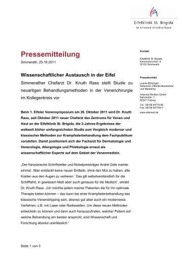 Pressemitteilung - Eifelklinik St. Brigida