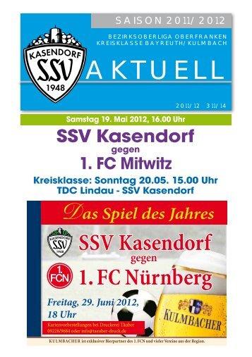 Sonntag 20.05. 15.00 Uhr TDC Lindau - SSV Kasendorf