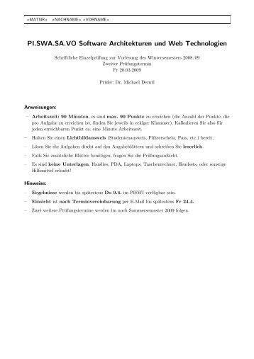 PI.SWA.SA.VO Software Architekturen und Web Technologien