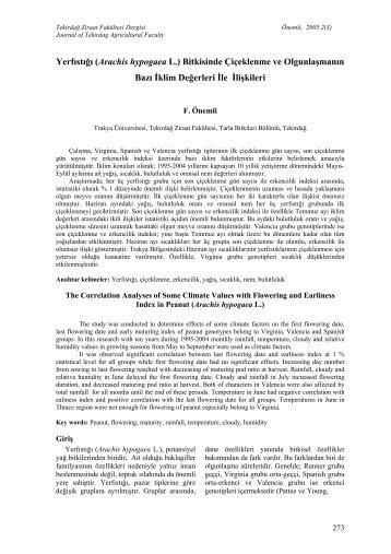 Yerfıstığı (Arachis hypogaea L - Tekirdağ Ziraat Fakültesi Dergisi