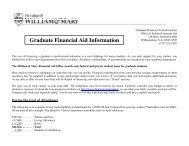 Graduate Financial Aid Information - William & Mary Law