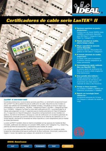 Certificadores de cable serie LanTEK® II - Ingesdata