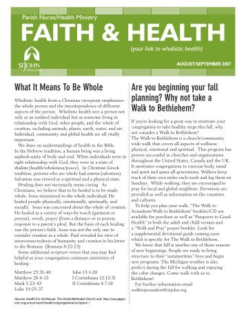 Faith & Health Newsletter - 2007 August/September