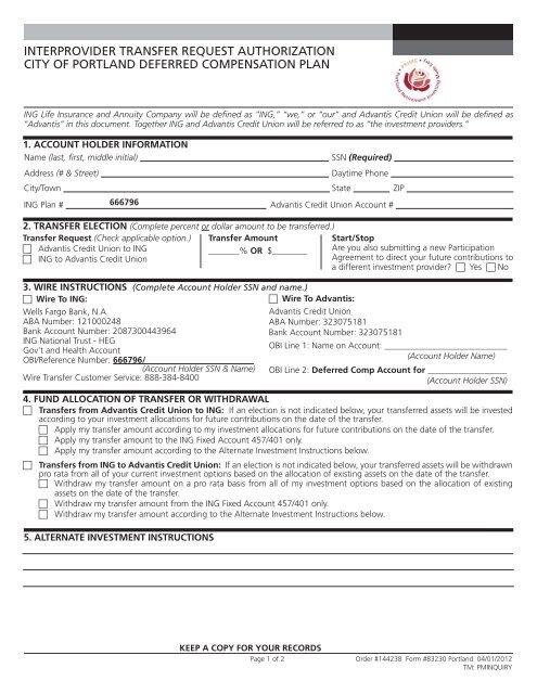 Transfer Form - Advantis Credit Union on