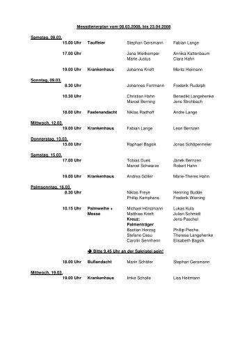 Messdienerplan 08.03.08 - 23.04.08