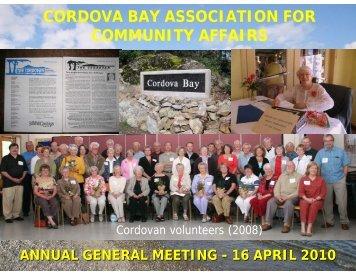 2010 AGM Presentation - Cordova Bay Association for Community ...