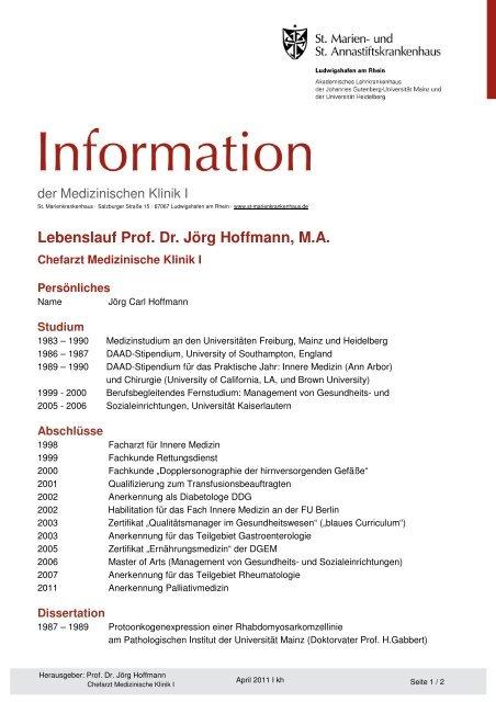 Lebenslauf Prof Dr Jörg Hoffmann Ma St Marienkrankenhaus