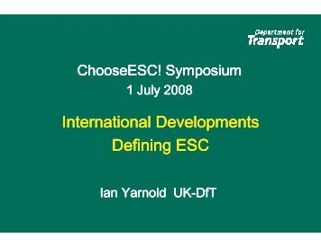 International Developments Defining ESC - Choose ESC