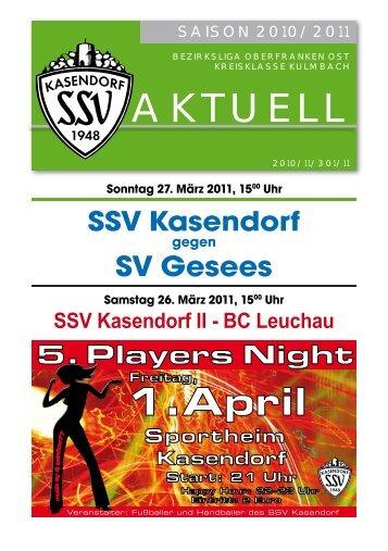 SSV Kasendorf II - BC Leuchau 5. Players Night Sportheim 1.April