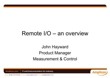 Remote I/O – an overview - Amplicon