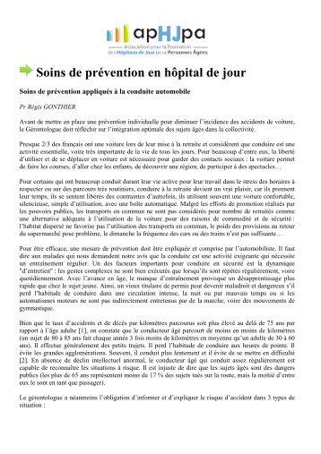 Soins de prévention en hôpital de jour - APHJPA