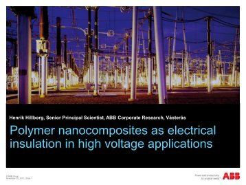 Polymer nanocomposites as electrical insulation in high voltage ...