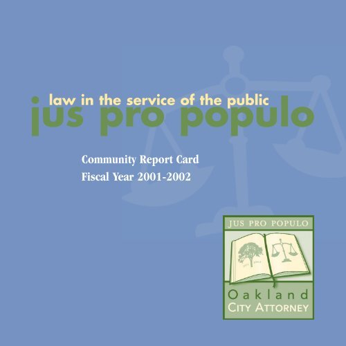 2001-02 Report Card - Oakland City Attorney