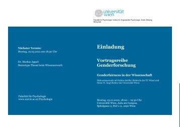 Genderfairness in der Wissenschaft - Universität Wien