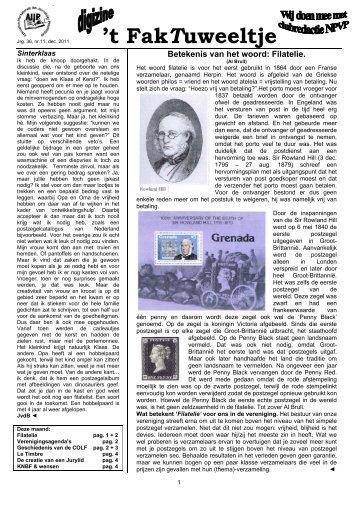 Jrg. 36, nr.11, dec. 2011 - Eerste Kerkraadse Philatelisten Vereniging