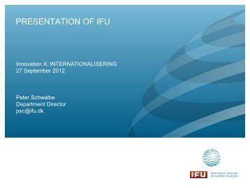 PRESENTATION OF IFU - Innovation X