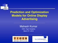 Prediction and Optimization Models for Online Display Advertising