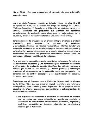Declaración del GT Políticas educativas y derecho a la educación en América Latina y El Caribe