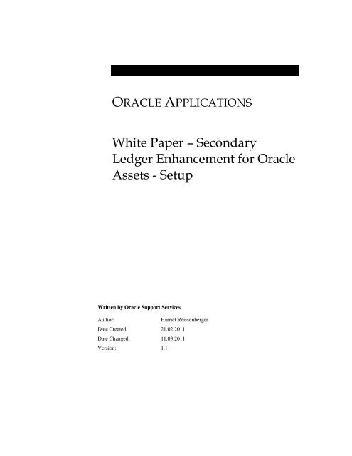 White Paper – Secondary Ledger Enhancement for Oracle Assets