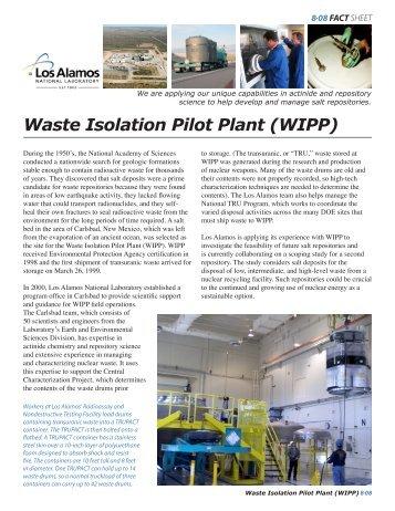 Waste Isolation Pilot Plant (WIPP) - Los Alamos National Laboratory