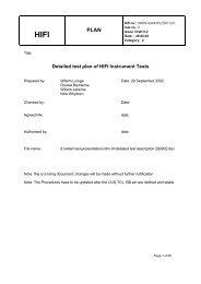 Detailed test plan of HIFI Instrument Tests - SRON