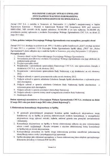 Ogłoszenie o zwołaniu Zwyczajnego Walnego Zgromadzenia CNT ...