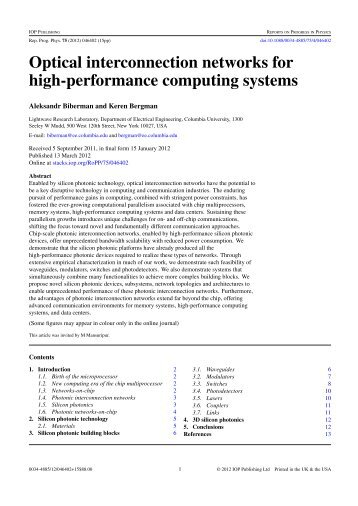 Optical interconnection networks for high-performance computing ...