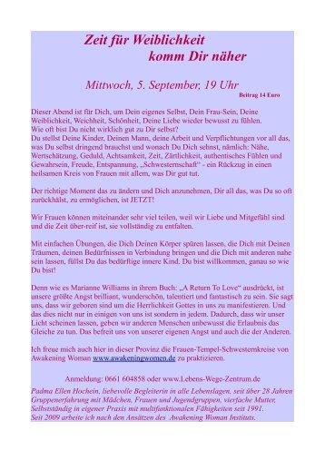 Zeit für Weiblichkeit komm Dir näher Mittwoch, 5. September, 19 Uhr