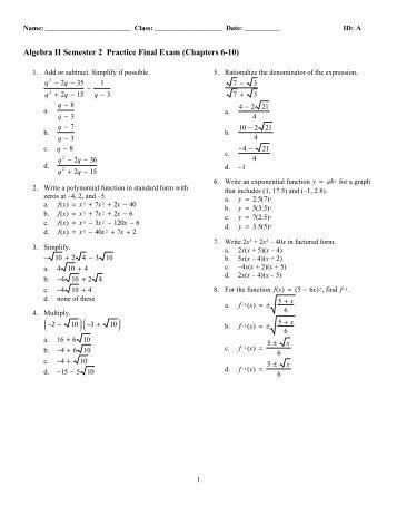 Algebra 2 Trigonometry Test 1 Answer Key - regents practice