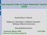 Açık Kaynak Kodlu ve Özgür Matematik Yazılımı SAGE - Akademik ...
