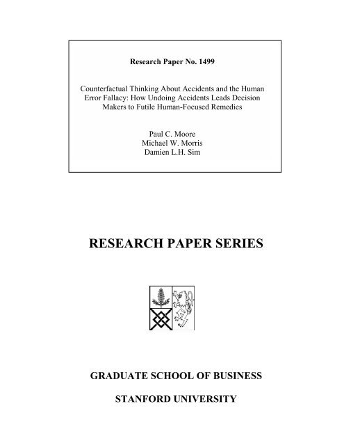 RESEARCH PAPER SERIES - Stanford GSB - Stanford University