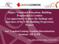 Higher Vocational Education: Building Progression ... - Linking London