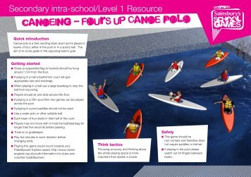 canoeing - Fours up Canoe Polo - School Games