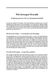 Entwurf Wahlprogramm 2009 - CDU-Stadtverband Overath