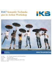 D.8.7 Semantic Technolo- gies in Action Workshop - IKS
