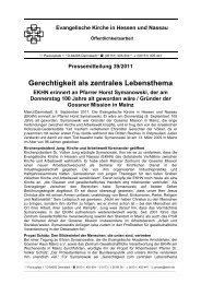Pressemitteilung - Zentrum Gesellschaftliche Verantwortung der EKHN