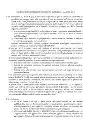 RICHIESTA INFORMAZIONI PERVENUTA ENTRO IL 21 MAGGIO ...