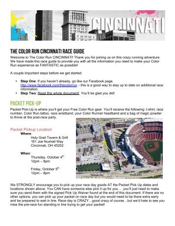 THE COLOR RUN CINCINNATI RACE GUIDE PACKET PICK-UP